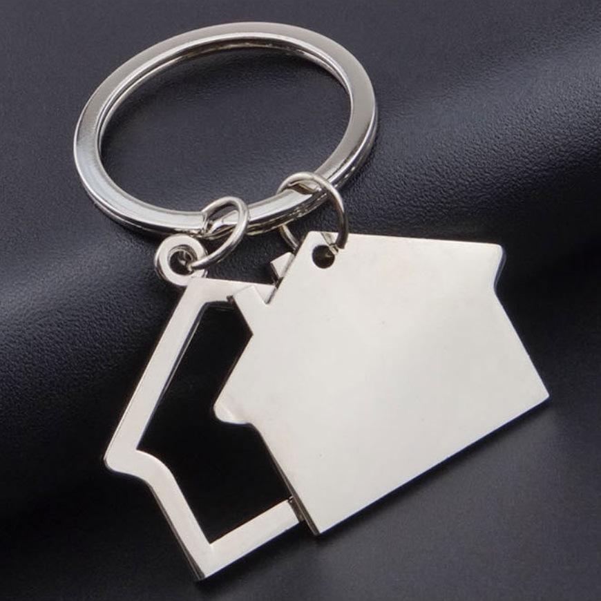 Zinc Alloy House Keychain for Sale