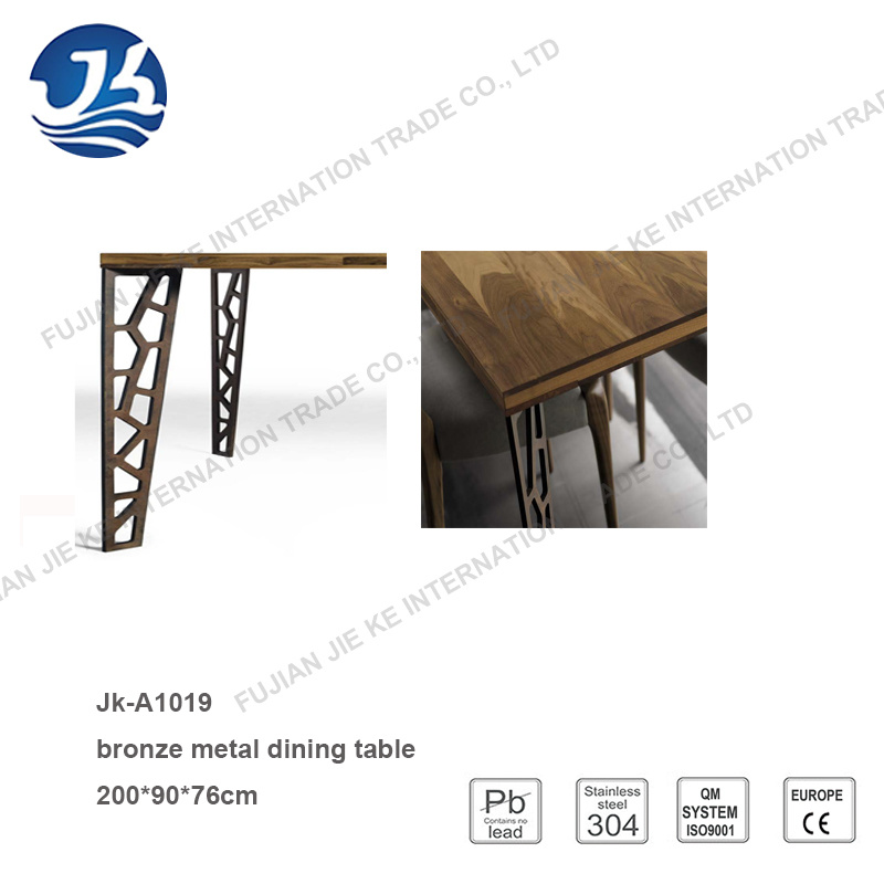 Natural Walnut Long Office Meeting Table with Artistic Metal Legs