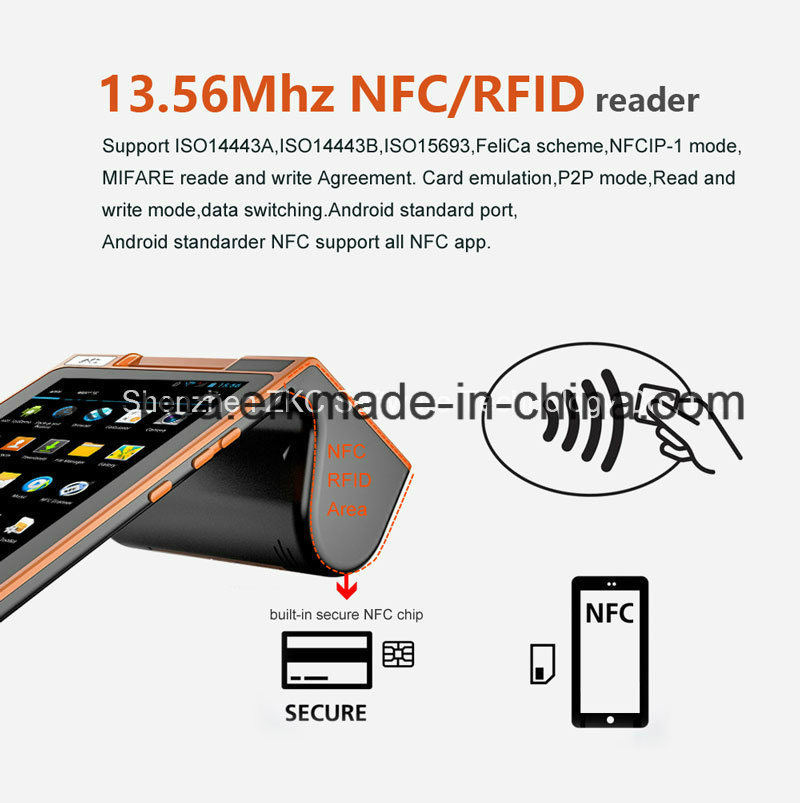 Dual Touch Screen Barcode Scanner Payment Handheld POS with NFC WiFi Bluetooth Printer