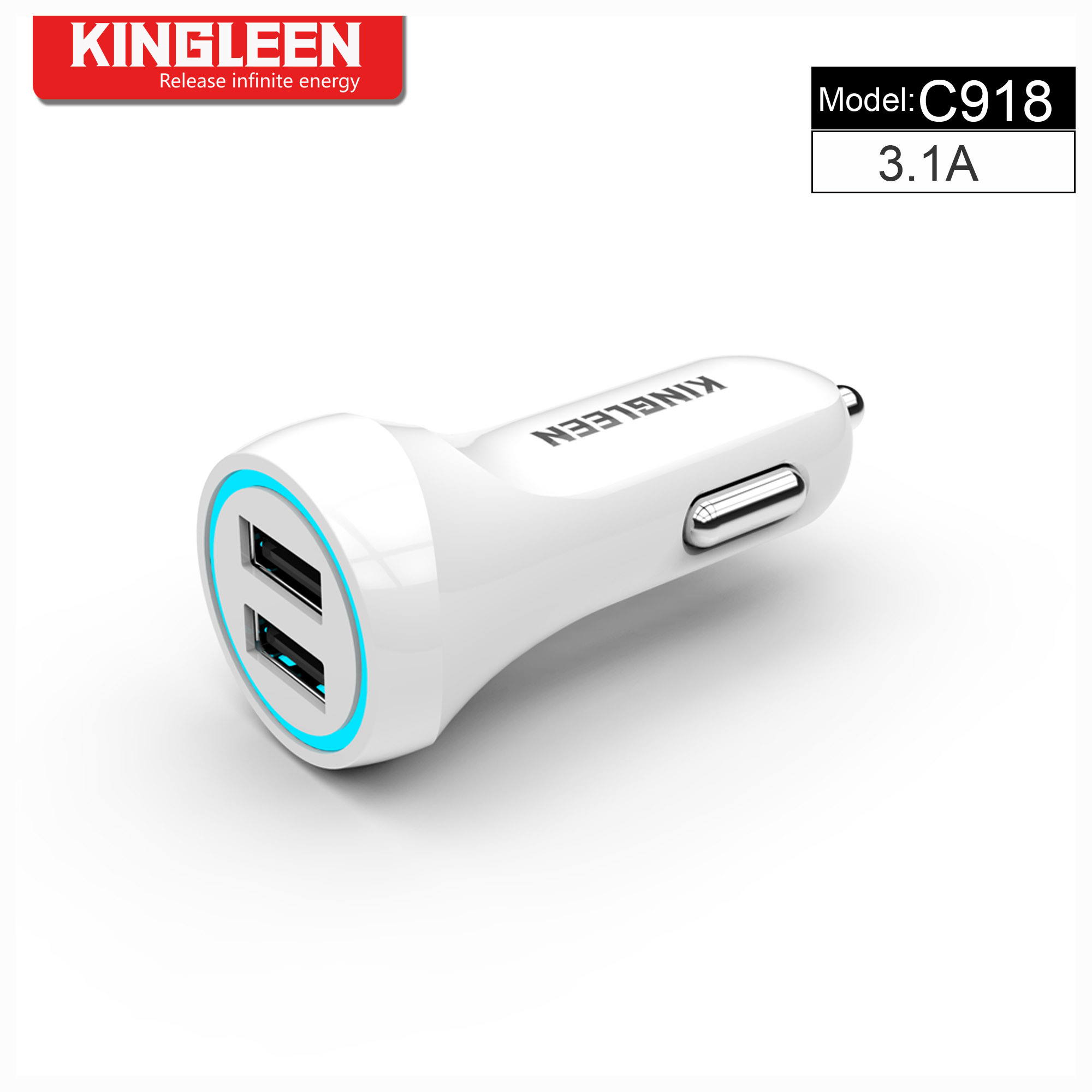 Kingleen C918 Dual USB Intelligent Car Charger Combo for iPhone/Micro/Type-C 5V-3.1A High Quality Car Charge