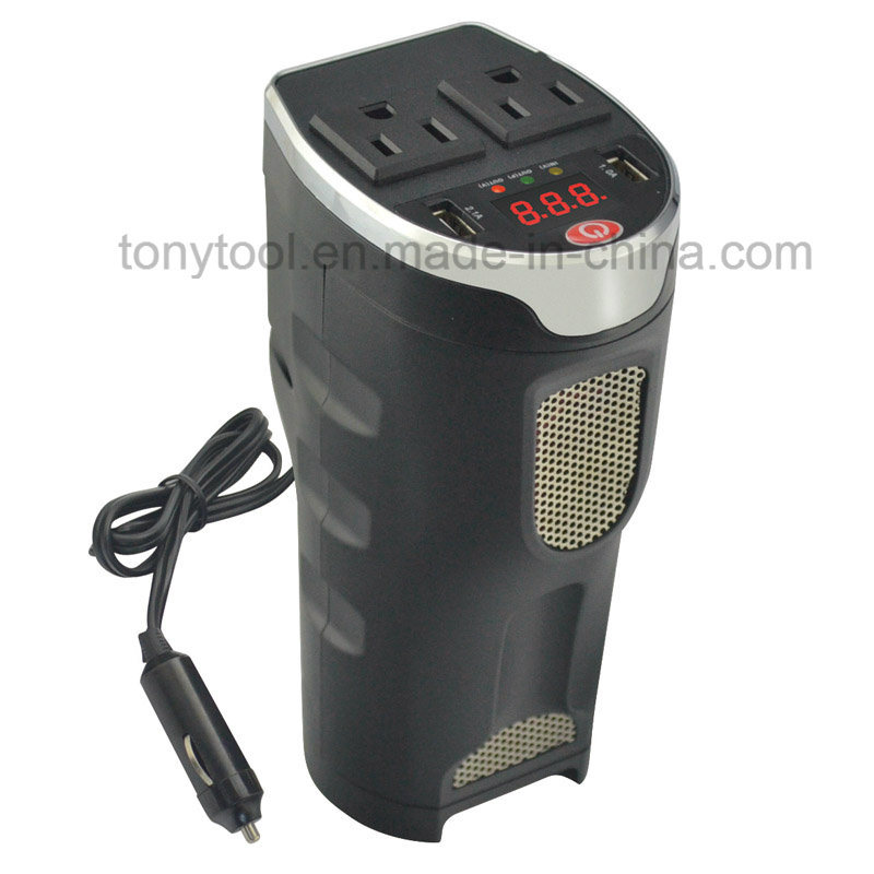 200W Digital Car Power Inverter with 2 AC Outlets