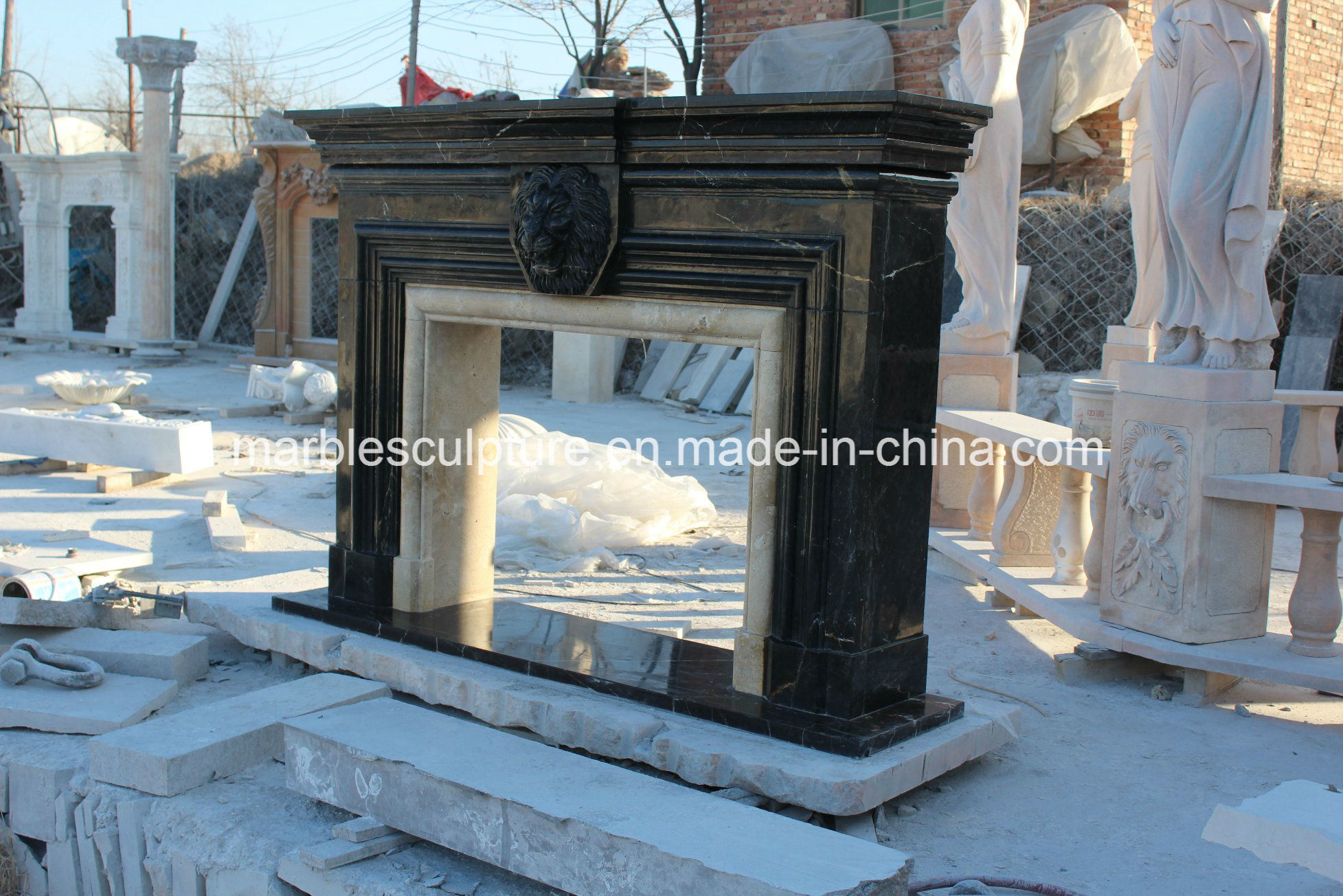 Hand Carved Black with Golden Color Marble Fireplace (SY-MF305)