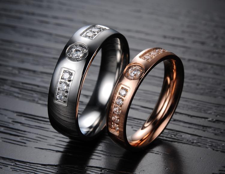 Fashion Rhinestone Diamond Men Women Lover Couple Rings Stainless Steel Jewelry