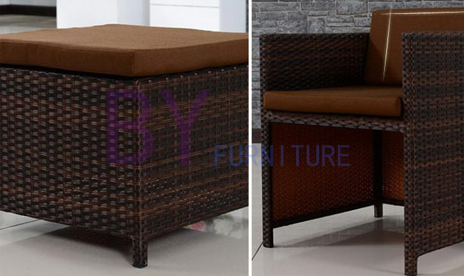 Leisure Dining Room Rattan Furniture Square Table Sets