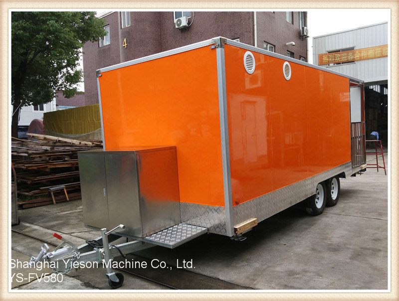 Ys-Fv580 5.8m Orange Large Camper Van Food Trucks Mobile Food Trailer
