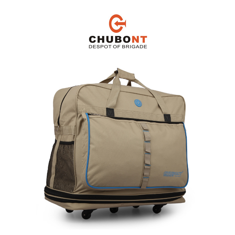 Chubont Khaki Color Expandable 5 Wheels Travel Handbag