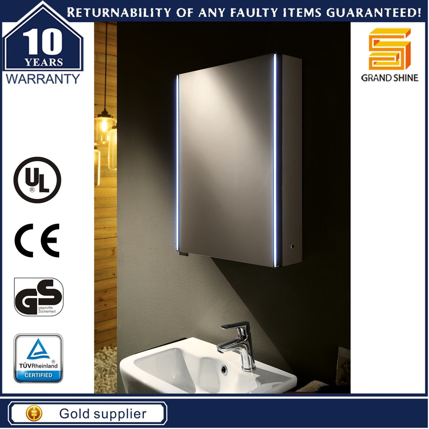 Bathroom LED Mirror with storage Cabinet