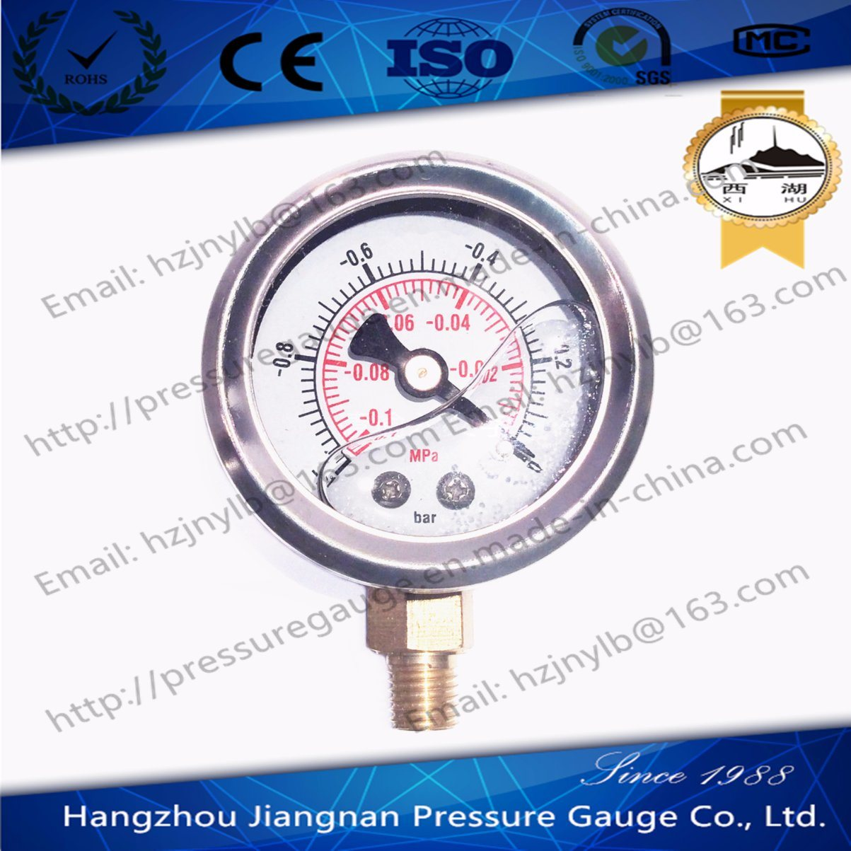 40mm 1.5′′ Stainless Steel Oil Pressure Gauge Filled with Glycerin