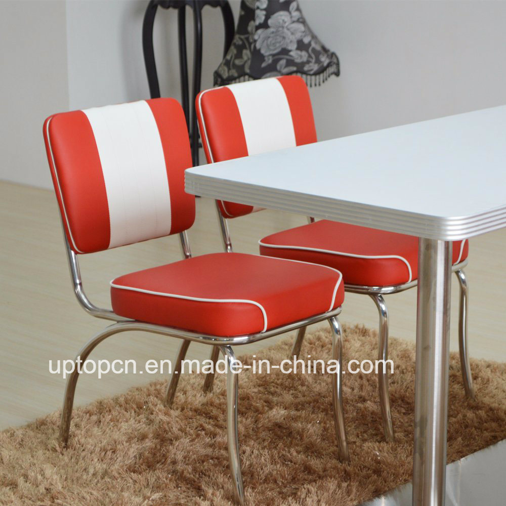 (SP-CT846) 1950s Red and White Leather Dining Restaurant Furniture