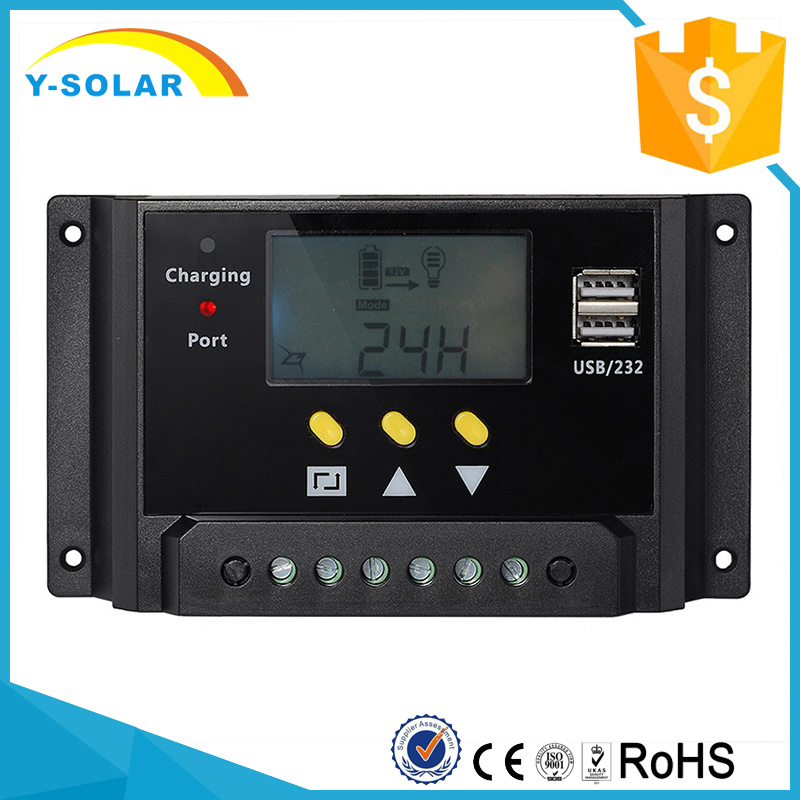 12V 24V 20A with LCD Display and Dual USB Solar Charge Controller/Regulator with Ce RoHS Sm20