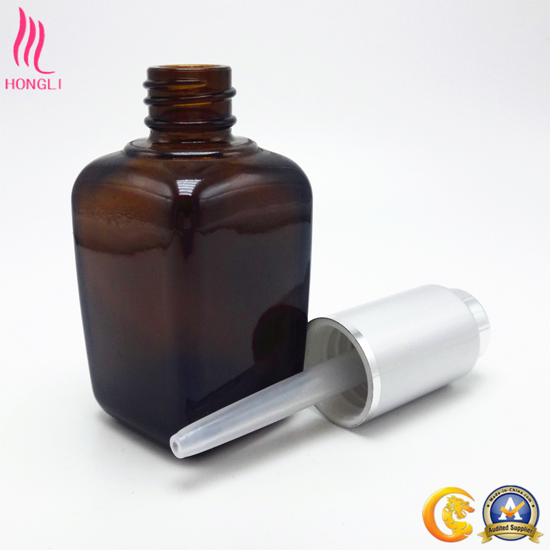 2017 Hot Sale Luxury Amber Square Essential Oil Bottles with Silver Dropper Pipette