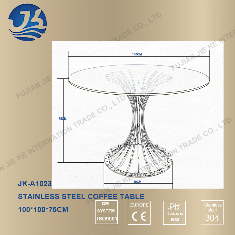 Tempered Glass Desktop Round Coffee Table with 304 Stainless Steel Foot