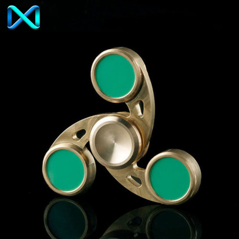 Fidget Hand Spinner Triangle Brass Finger Toy EDC Focus Adhd Autism Kids Adults