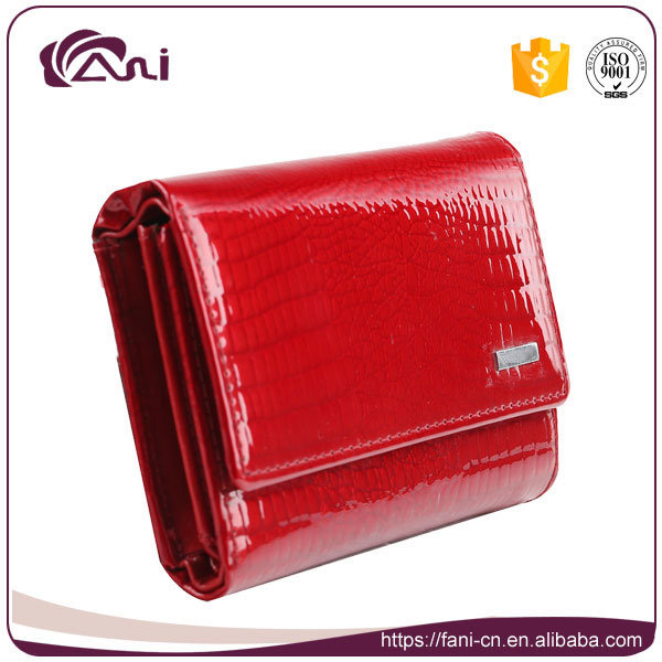Red Color Small Women Crocodile Grain Genuine Leather Wallet
