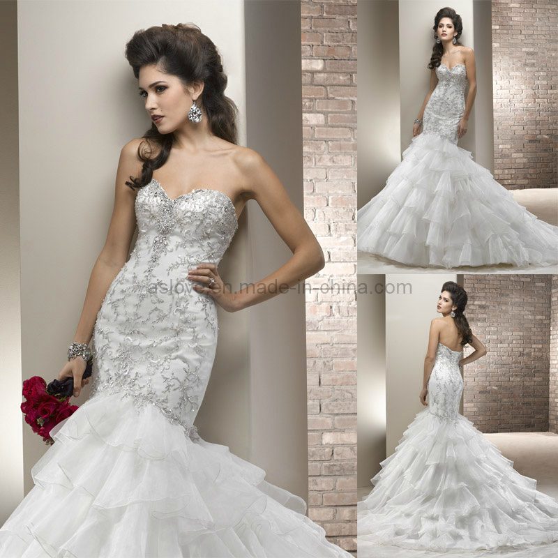 China oganza embroidery mermaid wedding gown bridal dress