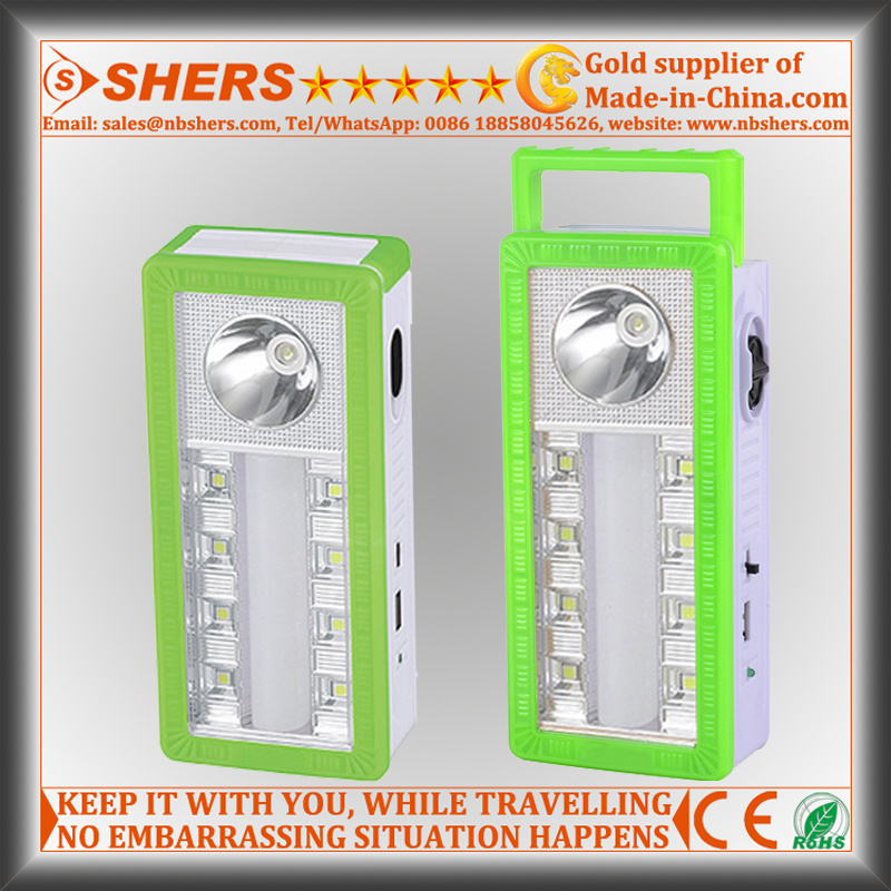 Portable Solar LED Emergency Light with 1W Flashlight, USB (SH-1904A)