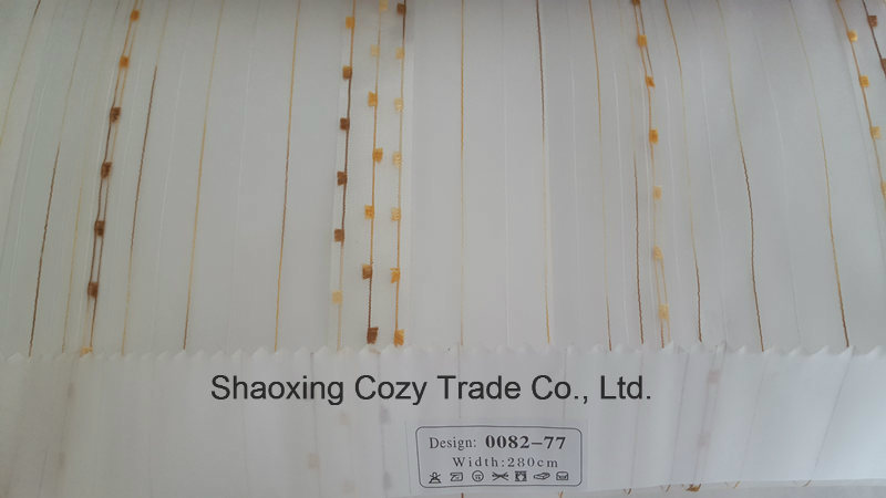 New Popular Project Stripe Organza Voile Sheer Curtain Fabric 008277