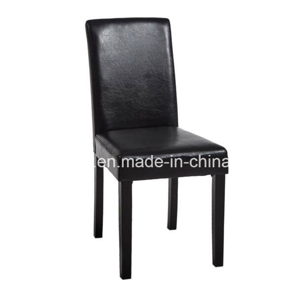 2PCS Black PU Dining Chairs Wooden Legs Seat Dining Room&Kitchen Middle Back