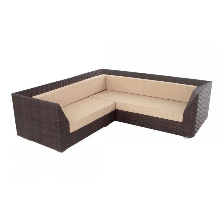 Well Furnir T-004 Triple Woven V Shape UV Proof 7 Seat Rattan Large Corner Sofa Set