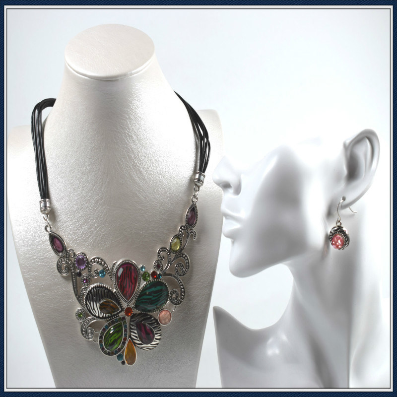 New Item Flower Resin Pendant Fashion Jewelry Necklace Earring