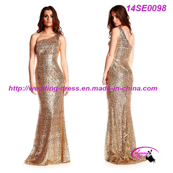 Sparking Sequined One Shoulder Fashion Dress Gown