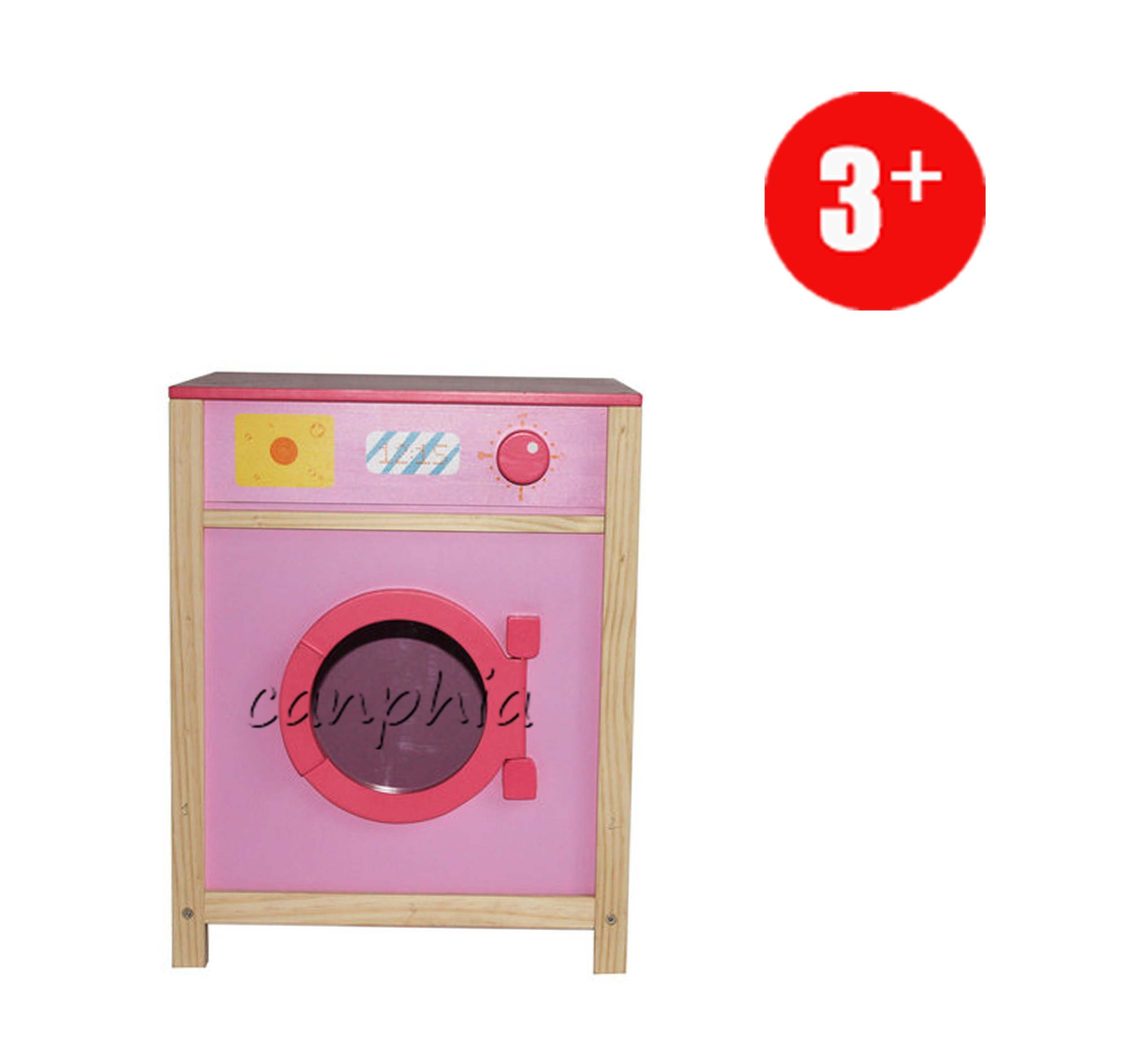 Wooden Pretend Kids Toy Play Role Play Washing Machine Playset