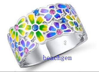 Fashion Epoxy Resin Flower Jewellery Ring (R309543)
