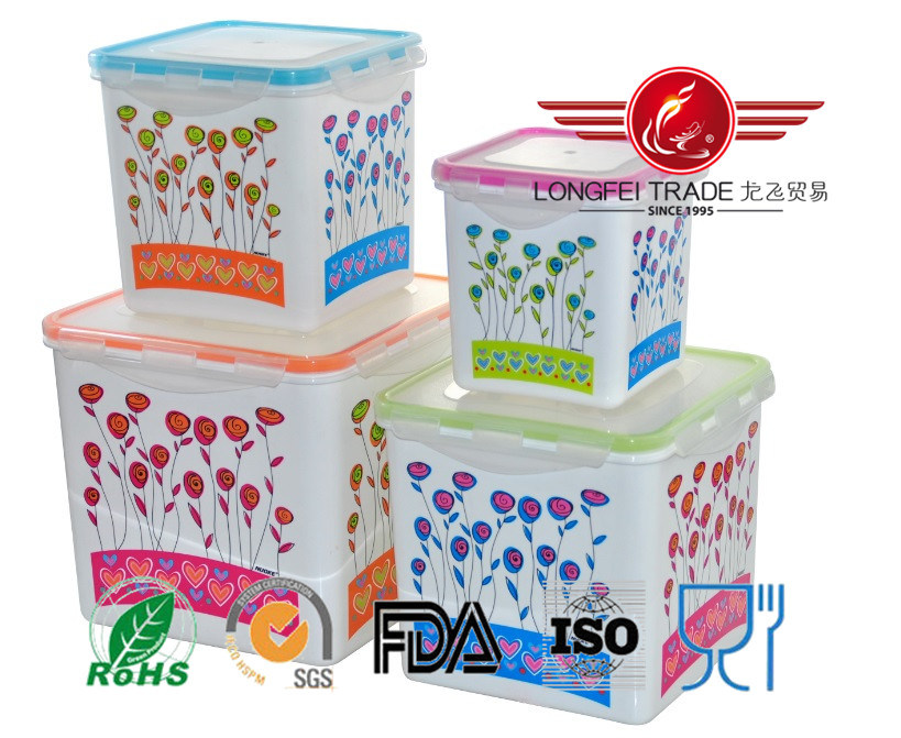 4PCS Square High Food Grade Plastic Food Container