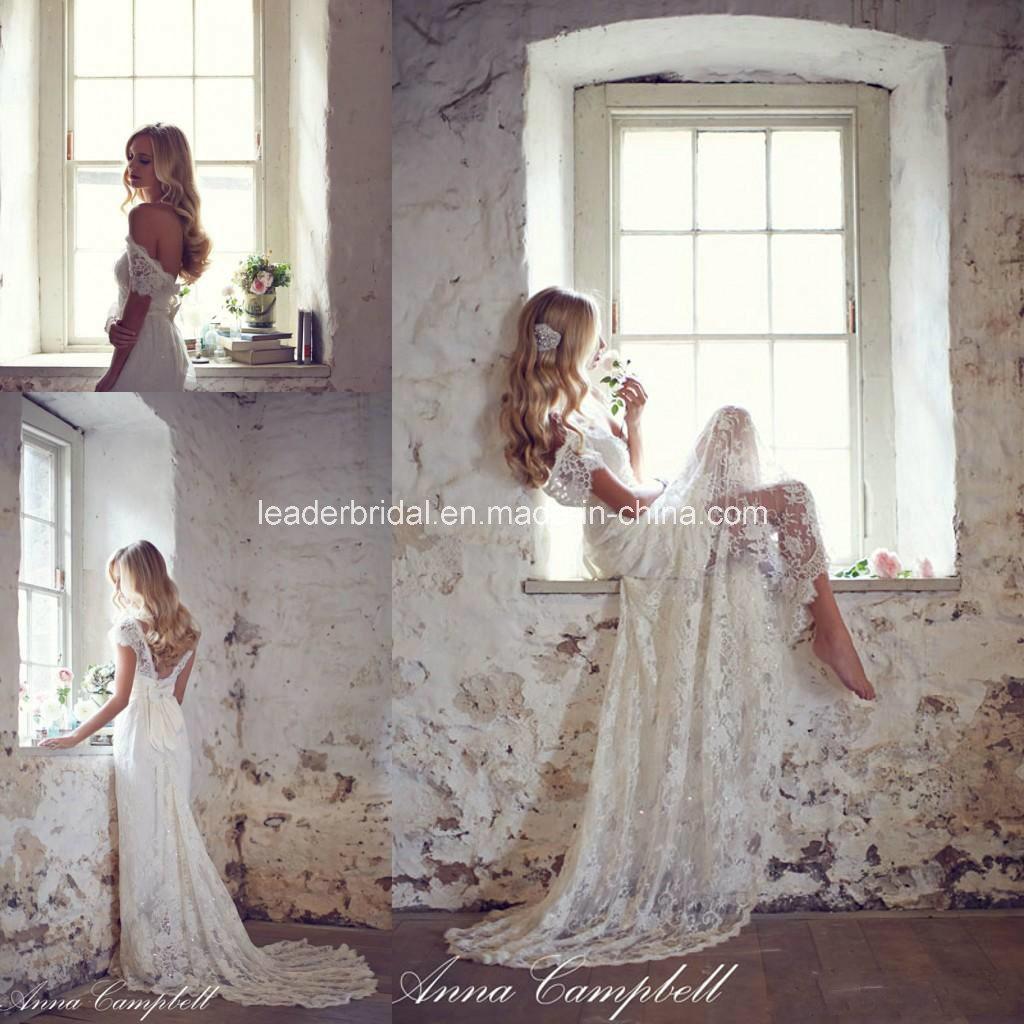Lace Bridal Gowns A-Line V-Neck Beach Wedding Dresses Z8026