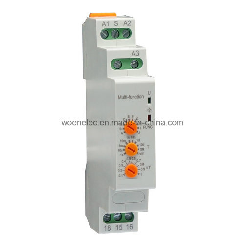 DIN-Rail Mounting Modular Type Multifunction Adjustable Time Relay (10functions) , 12-240VAC/DC
