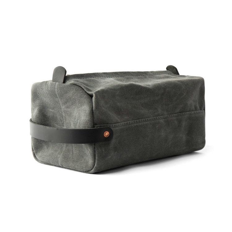 Custom Mens Shaving Kit Bag Waxed Canvas Dopp Kits Travel Toiletry Bag