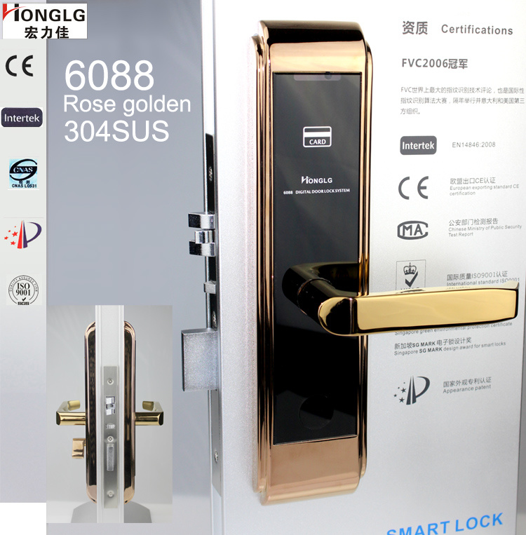 European Mortise Electronic Locksmith for Hotel Apartment Office (HA6088)