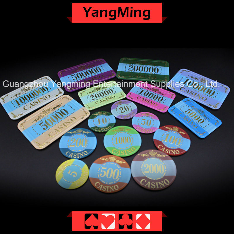 Acrylic Crystal / Pokerchips Crown Bronzing; Casino Chips Can Custom (YM-CP003-004)