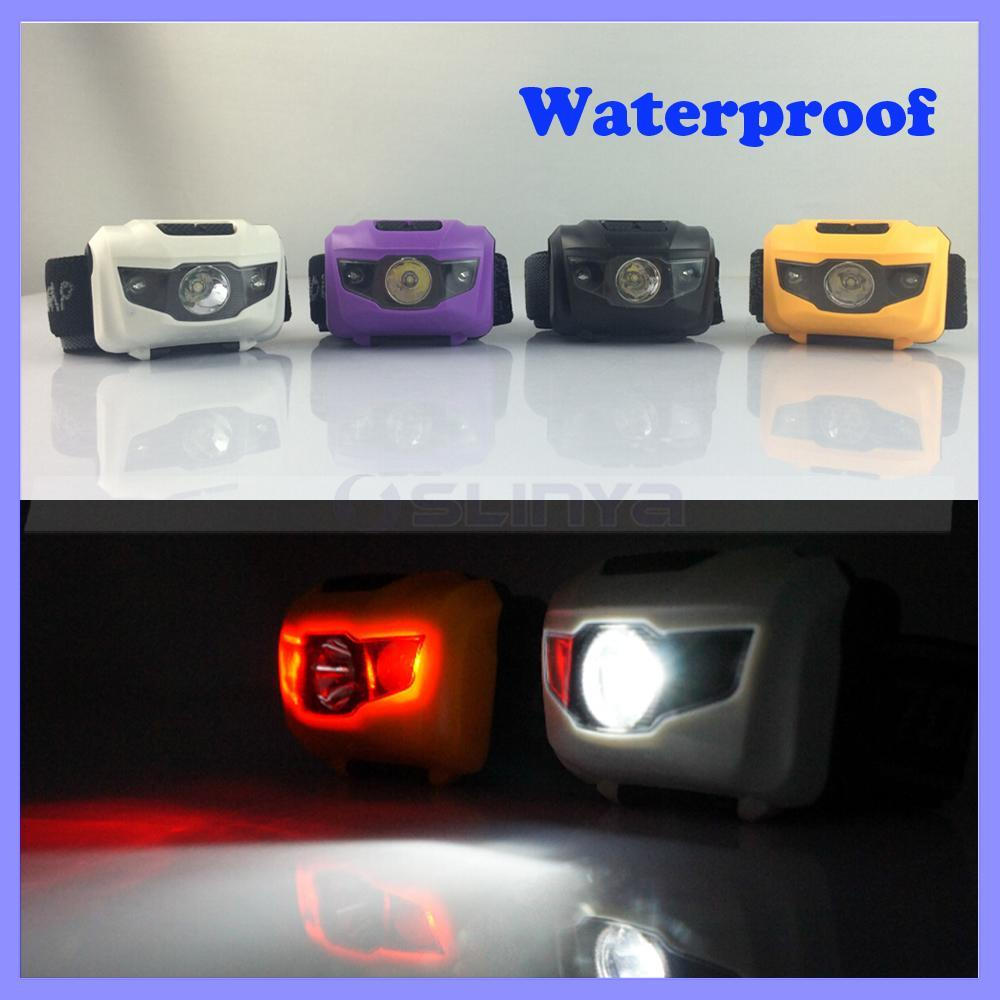 Waterproof 400 Lumens 3W LED Color Mini Red White Sos Cap Lamp Headlight Headlamp Head Lamp (1118b)