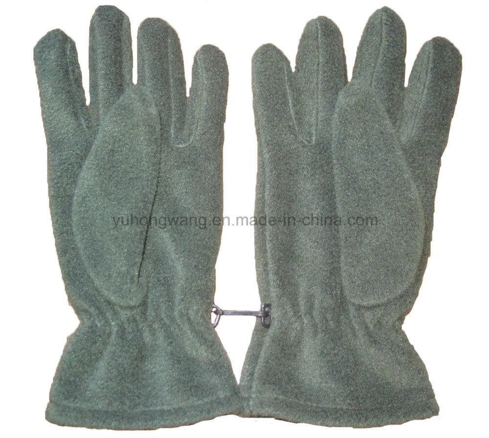 Men Warm Single Layer Polar Fleece Gloves with Embroidery