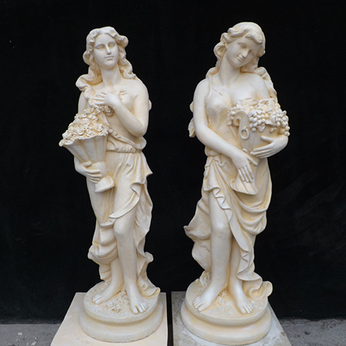 Yellow/ White Marble Carving Sculpture for Outdoor Graden