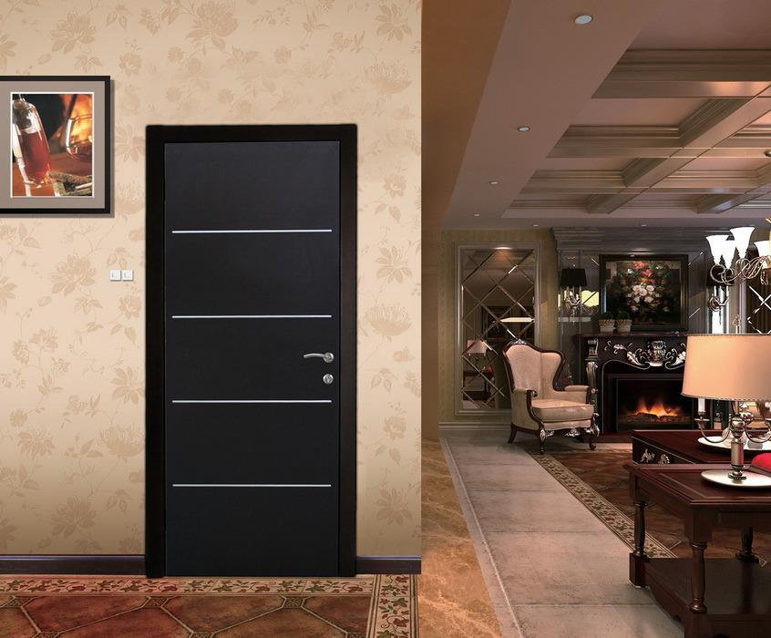 Israeli Interior Steel Door with Decorative Aluminum Strips