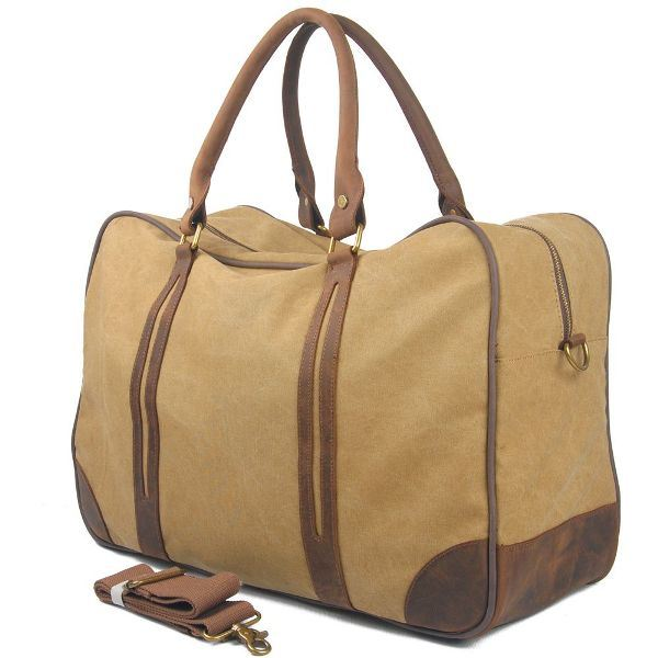 Cowhide Leather Hand Strap Bag Washed Canvas Sport Duffle Travel Bag (RS-6827A)
