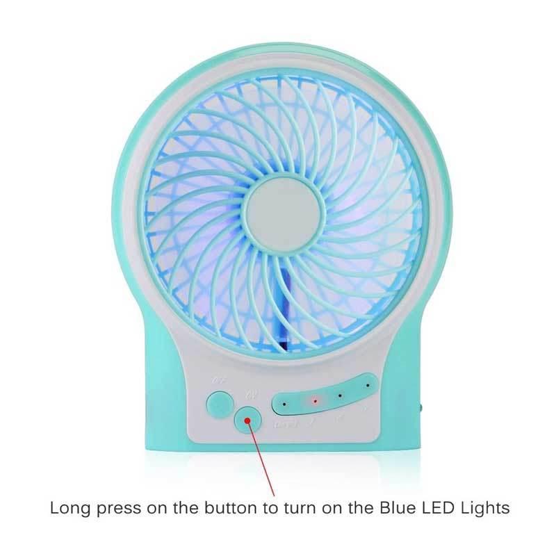 LED Lighting Portable Desk USB Rechargeable Super Mute Mini Fan