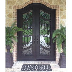 Irregular Arch Top Wrought Iron Custom Door with Transom