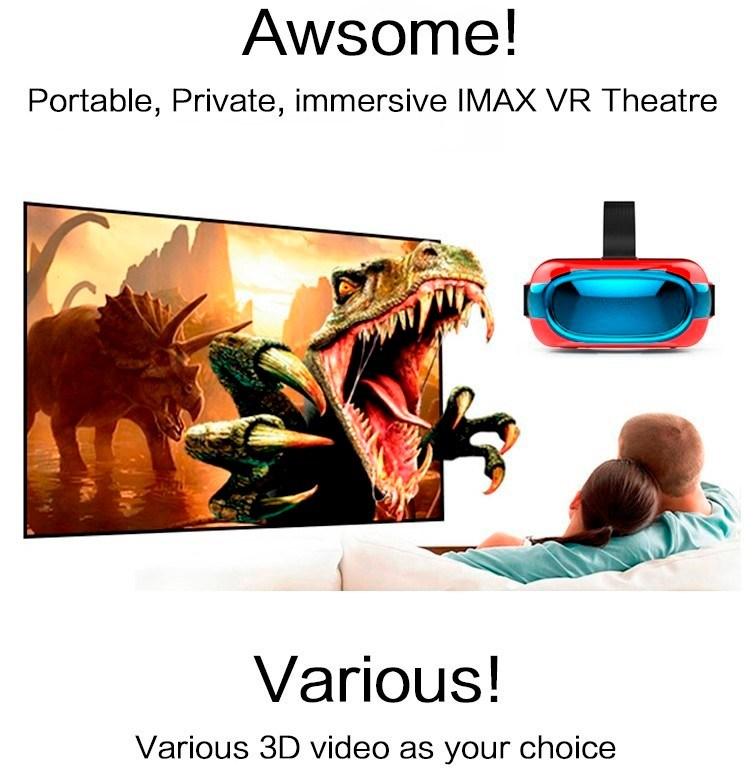 Customized Logo 3D Vr Glasses Google Cardboard Vr Box with Andorid 5.1 1+8GB Quad Core Rk3126 Vr Box 1280*720p