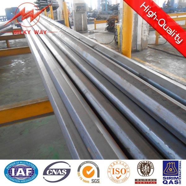 Octogonal 11.8m Galvanized Steel Tubular Pole with Cross Arm