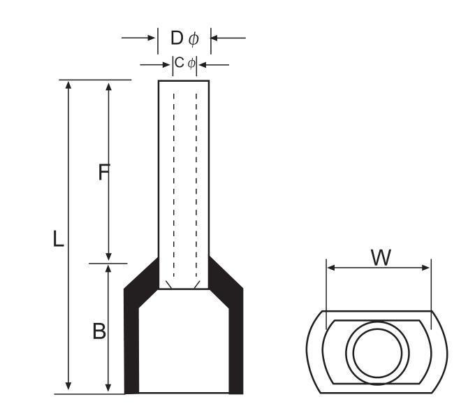 Copper Tube Pre-Insulating Twin Cord End Terminals (TE)