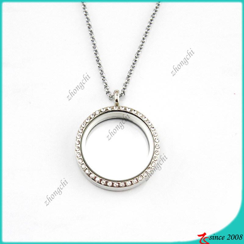 Silver 35mm Memory Locket Pendant Necklace Jewellery (FL16040822)