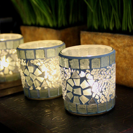 Hot Sell Candle Cup/Electroplate Glass Candlestick for Home Decoration