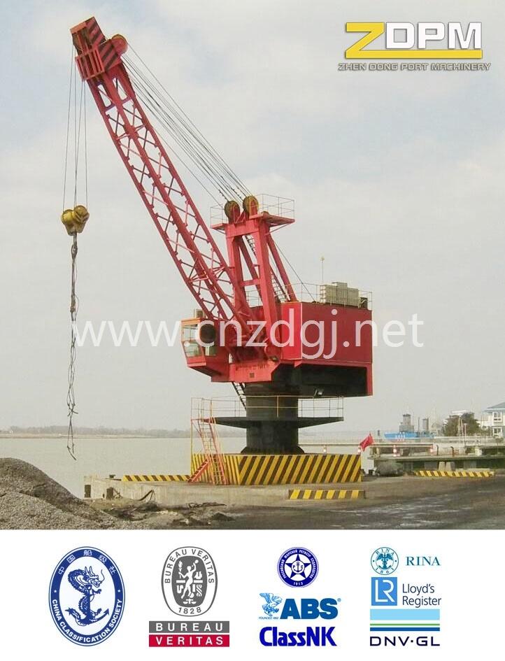 360° Rotation Single Jib Portal Fixed Crane in Port for Loading