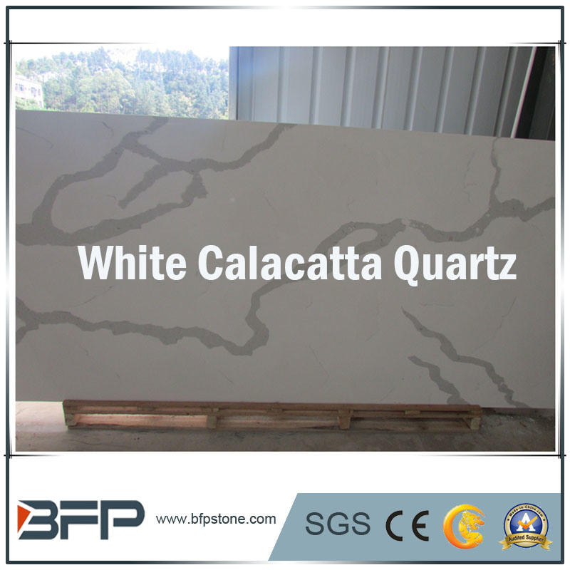 Elegant White Calacatta Quartzs for Slabs/Tiles/Countertops Interior Design