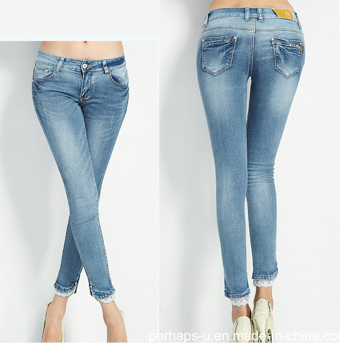 Elegant New Fashion Ladies Refreshing Long Lace Hem Denim Jeans