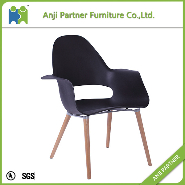 Black Style PP Seat and Back with Wooden Legs Dining Room Chair (Hulda)