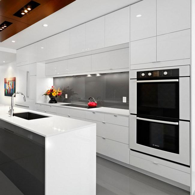 2017 New Modern Glossy Wooden Kitchen Furniture Kitchen Cabinet